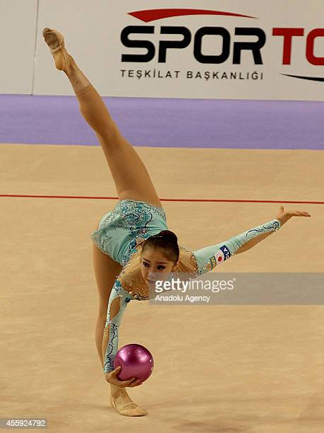 Maho Mikami of Japan competes during the first day of 33rd Rhythmic Gymnastics World Championships in Izmir Turkey on September 22 2014