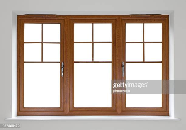 mahogany double glazed windows - window frame stock pictures, royalty-free photos & images