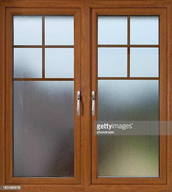 mahogany doppelt verglaste Fenster aus Milchglas