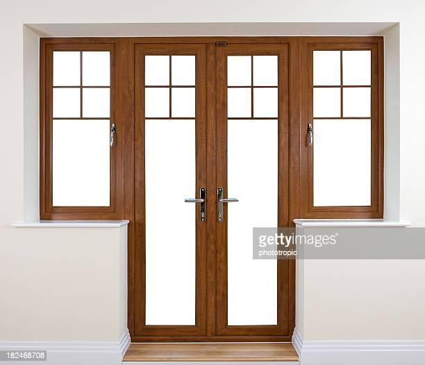 mahogany garden doors - patio doors stock pictures, royalty-free photos & images