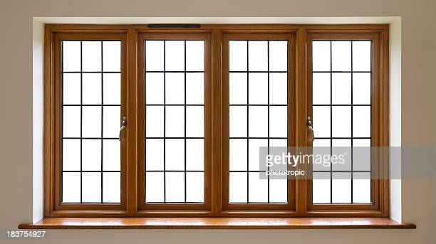 mahogany leaded glass windows - window frame stock pictures, royalty-free photos & images