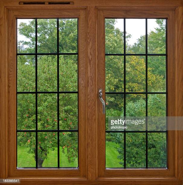 mahogany windows with garden view