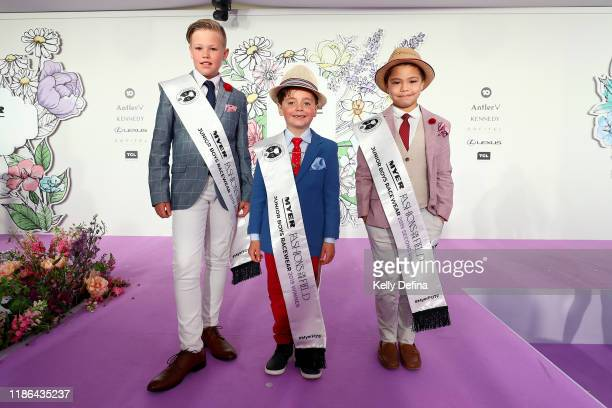 Mahon Chippindail runner up Gilbert Hutchins 1st place and Zac Perryman 2nd runner up of Junior Boys runway at the Park during 2019 Stakes Day at...