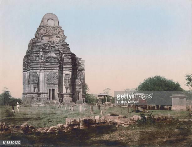 A mahout on his elephant at the Teli ka Mandir Hindu temple in Gwalior Fort Madhya Pradesh India circa 1900 Vintage colour photochrom