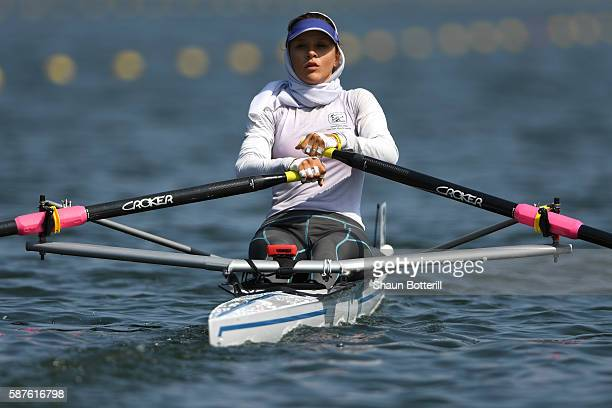 Mahsa Javar of the Islamic Republic of Iran competes during the Women's Single Sculls Semifinal on Day 4 of the Rio 2016 Olympic Games at the Lagoa...