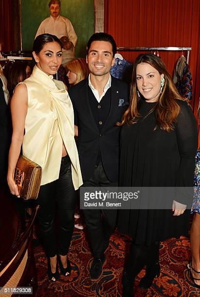 Mahsa Nejati Cristiano De Rossi and Mary Katrantzou attend the Mary Katrantzou London Fashion Week lunch at Mark's Club on February 23 2016 in London...