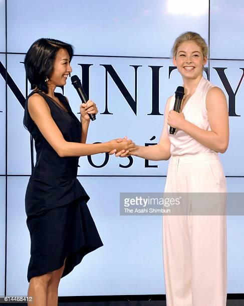 Mai Asada and figue skater Gracie Gold of the United States attend a Kose 'Infinity' press conference on September 29 2016 in Tokyo Japan