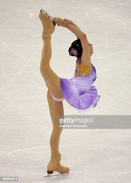 Mai Asada of Japan competes in the free skate event of the ISU Four Continents Figure Skating Championships on January 28 2006 at the World Ice Arena...