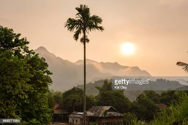 mai chau valley landscape at sunset - mai chau stock pictures, royalty-free photos & images