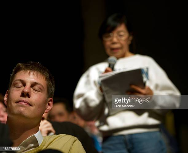 04/18/10 TORONTO ONTARIO Mai Cheng as she tells the panel Adam Giambrone should be fired as TTC Chair Giambrone happen to be sitting two rows in...
