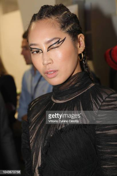 Mai Davika Hoome poses backstage during Le Defile L'Oreal Paris as part of Paris Fashion Week Womenswear Spring/Summer 2019 on September 30 2018 in...