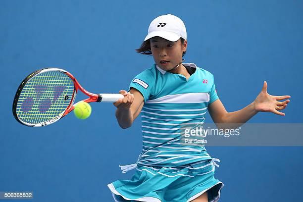 Mai Hontama of Japan plays a forehand in her first round juniors match against Lara Salden of Belgium during the Australian Open 2016 Junior...