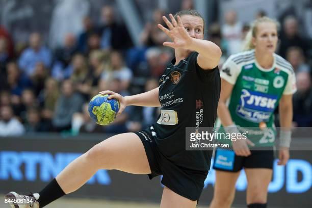 Mai Kragballe of Copenhagen Handball in action during the Danish HTH Go Ligaen match between Copenhagen Handball and Silkeborg Voel in...