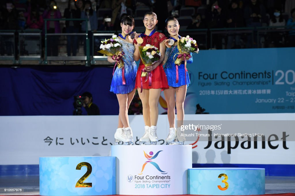 Mai Mihara (silver), Kaori Sakamoto (gold) and Satoko Miyahara (Bronze) of Japan pose with on the podium during day three of the Four Continents Figure Skating Championships at Taipei Arena on January 26, 2018 in Taipei, Taiwan.