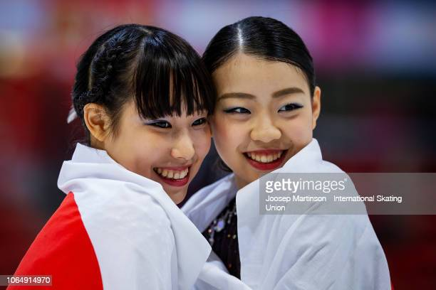 Mai Mihara of Japan and Rika Kihira of Japan pose in the Ladies medal ceremony during day 2 of the ISU Grand Prix of Figure Skating Internationaux de...