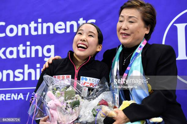 Mai Mihara of Japan celebrates with her coach Sonoko Nakano at the kiss and cry after the Ladies Free Skating during ISU Four Continents Figure...