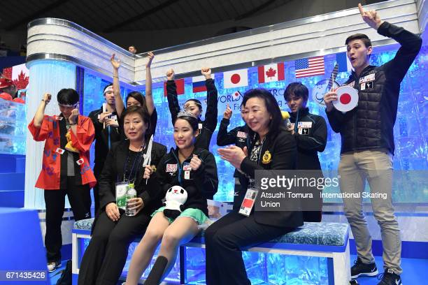 Mai Mihara of Japan celebrates with her team mates at kiss and cry after the Ladies free skating during the 3rd day of the ISU World Team Trophy...