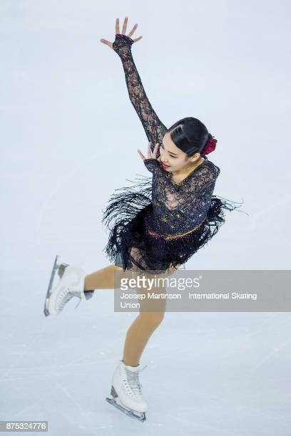 Mai Mihara of Japan competes in the Ladies Short Program during day one of the ISU Grand Prix of Figure Skating at Polesud Ice Skating Rink on...