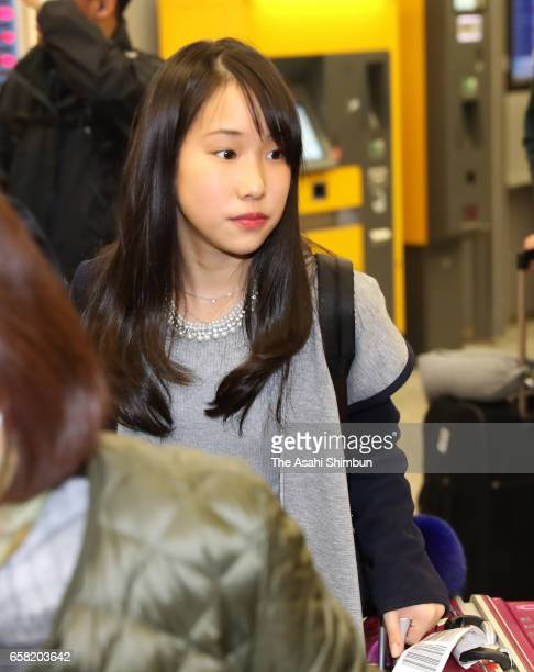 Mai Mihara of Japan is seen on arrival at HelsinkiVantaa Airport ahead of the World Figure Skating Championships on March 26 2017 in Helsinki Finland