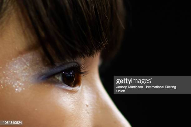 Mai Mihara of Japan looks on ahead of the Ladies Free Skating during day 2 of the ISU Grand Prix of Figure Skating Internationaux de France at...