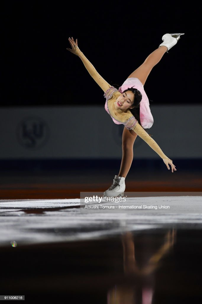 Mai Mihara of Japan performs her routine in the exhibition during day four of the Four Continents Figure Skating Championships at Taipei Arena on January 27, 2018 in Taipei, Taiwan.