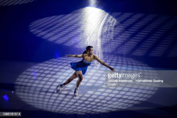 Mai Mihara of Japan performs in the Gala Exhibition during day 3 of the ISU Grand Prix of Figure Skating Internationaux de France at Polesud Ice...