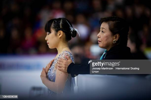 Mai Mihara of Japan prepares with her coach in the Ladies Free Skating during day 2 of the ISU Grand Prix of Figure Skating Internationaux de France...