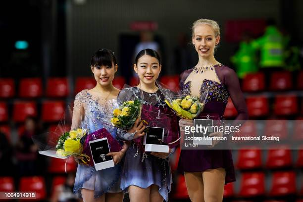 Mai Mihara of Japan Rika Kihira of Japan Bradie Tennell of the United States pose in the Ladies medal ceremony during day 2 of the ISU Grand Prix of...