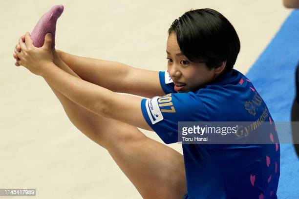 Mai Murakami attends a practice session on day two of the 73rd All Japan Artistic Gymnastics Individual AllAround Championships at Takasaki Arena on...