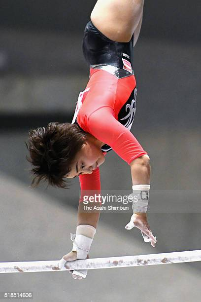 Mai Murakami competes in the Uneven Bars of the Women's All Around during day one of the All Japan Artistic Gymnastics All Around Championships at...