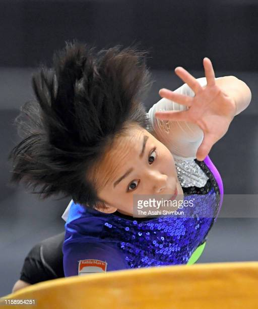 Mai Murakami competes in the Women's Horse Vault on day one of the 73rd All Japan Artistic Gymnastics Apparatus Championships at Takasaki Arena on...
