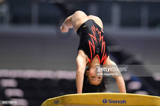 Mai Murakami competes in the Women's Vault during Japan National Gymnastics Apparatus Championships at the Takasaki Arena on June 25 2017 in Takasaki...