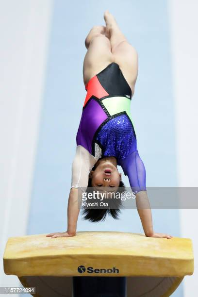 Mai Murakami competes in the Women's Vault final on day two of the 73rd All Japan Artistic Gymnastics Apparatus Championships at Takasaki Arena on...