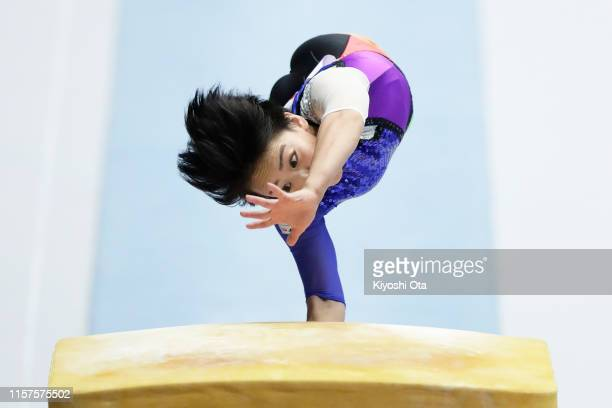 Mai Murakami competes in the Women's Vault qualifying round on day one of the 73rd All Japan Artistic Gymnastics Apparatus Championships at Takasaki...