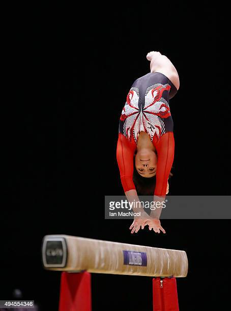 Mai Murakami competes on the balance beam during day five of World Artistic Gymnastics Championship at The SSE Hydro on October 27 2015 in Glasgow...