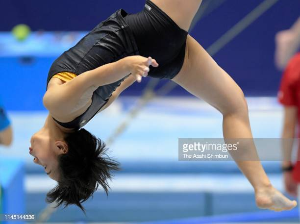 Mai Murakami in action during the official practice session ahead of the 73rd All Japan Artistic Gymnastics Individual AllAround Championships at...