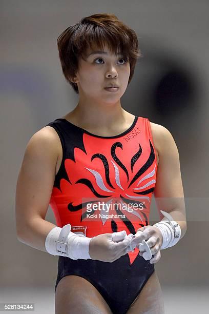 Mai Murakami looks on during the Artistic Gymnastics NHK Trophy at Yoyogi National Gymnasium on May 4 2016 in Tokyo Japan