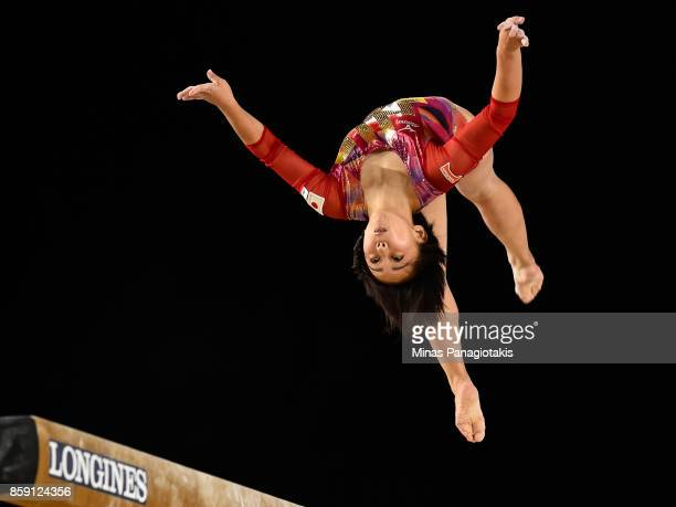 Mai Murakami of Japan competes on the balance beam during the individual apparatus finals of the Artistic Gymnastics World Championships on October 8...