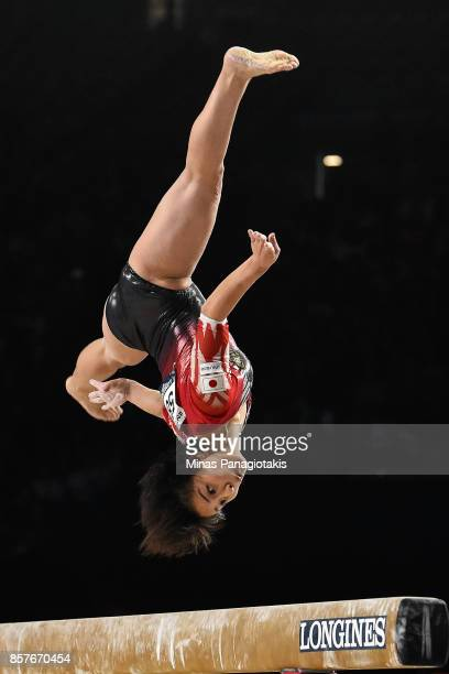 Mai Murakami of Japan competes on the balance beam during the qualification round of the Artistic Gymnastics World Championships on October 4 2017 at...