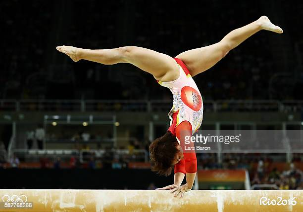 Mai Murakami of Japan competes on the balance beam during the Artistic Gymnastics Women's Team Final on Day 4 of the Rio 2016 Olympic Games at the...
