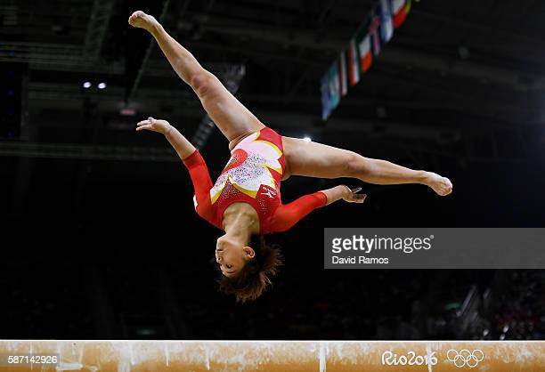 Mai Murakami of Japan competes on the balance beam during Women's qualification for Artistic Gymnastics on Day 2 of the Rio 2016 Olympic Games at the...