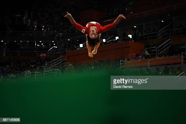 Mai Murakami of Japan competes on the floor during Women's qualification for Artistic Gymnastics on Day 2 of the Rio 2016 Olympic Games at the Rio...