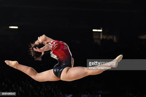 Mai Murakami of Japan competes on the floor exercise during the women's individual allaround final of the Artistic Gymnastics World Championships on...