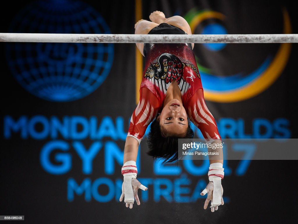 Mai Murakami of Japan competes on the uneven bars during the women's individual all-around final of the Artistic Gymnastics World Championships on October 6, 2017 at Olympic Stadium in Montreal, Canada.