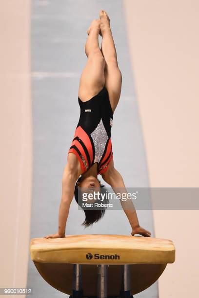 Mai Murakami of Japan competes on the Vault during day one of the 57th Artistic Gymnastics NHK Trophy at the Tokyo Metropolitan Gymnasium on May 19...