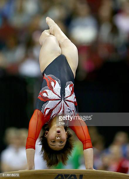 Mai Murakami of Japan competes on the vault during the 2016 ATT American Cup on March 5 2016 at Prudential Center in Newark New Jersey