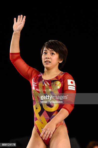 Mai Murakami of Japan completes her routine on the balance beam during the individual apparatus finals of the Artistic Gymnastics World Championships...
