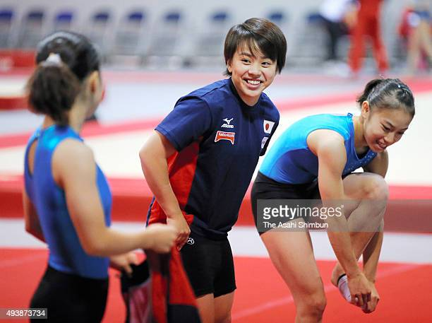 Mai Murakami of Japan is seen during a practice session ahead of the World Artistic Gymnastics Champipnships at the SSE Hydro on October 22 2015 in...