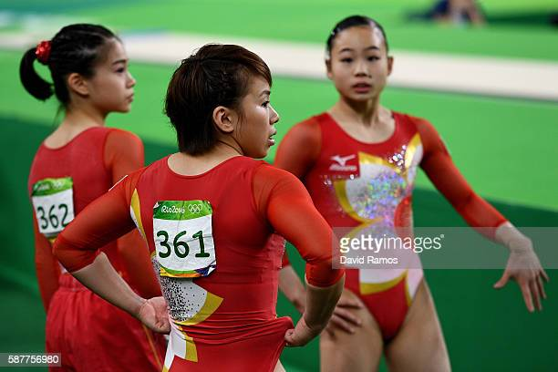 Mai Murakami of Japan is seen during the Artistic Gymnastics Women's Team Final on Day 4 of the Rio 2016 Olympic Games at the Rio Olympic Arena on...