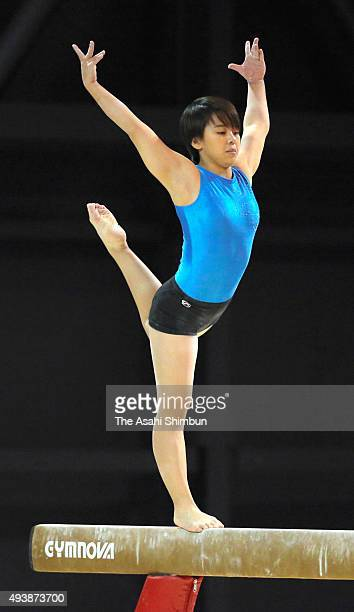 Mai Murakami of Japan performs in Balance Beam during a practice session ahead of the World Artistic Gymnastics Champipnships at the SSE Hydro on...